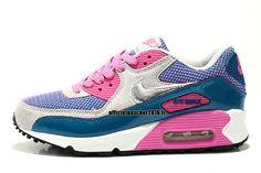 pretty nice 9a3a0 a01dc Officiel Nike Air Max 90 SJX Chaussures Nike Sportswear Pas Cher Pour Femme  Bleu - Rose - Gris