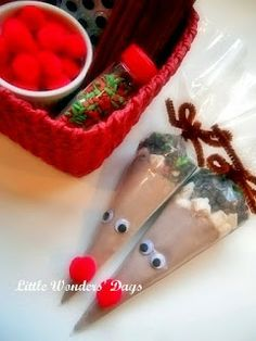 "The first grade class made these! Made 100 in 2 hours, with a little elf assembly line. We didn't do the faces,, and they were still super cute. We did add a tag with instructions to prepare. We ""sold"" them at our kids holiday market- and they sold out ! - Easy reindeer hot cocoa cones from Little Wonders' Day"