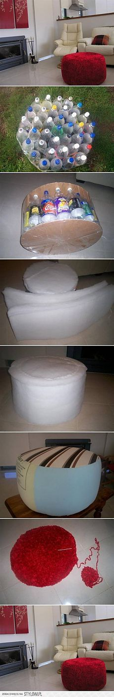 Make an easy DIY ottoman from recycled plastic bottles Home Crafts, Diy Home Decor, Diy And Crafts, Dorm Room Crafts, Diy Ottoman, Diy Upcycling, Upcycle, Ideias Diy, Recycle Plastic Bottles