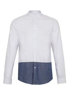 TOPMAN - White Contrast Blue Chambray Long Sleeve Smart Shirt