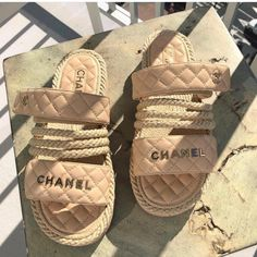 Chanel inspired sandals is part of Chanel sandals - 12 38 is a 7 39 is 8 40 is a 9 41 size 10 42 size 11 please and thank you preorder only takes up too a week to return back Rope Sandals, Shoes Sandals, Heels, Shoe Wedges, Beige Sandals, Heeled Sandals, Cute Shoes, Me Too Shoes, Chanel Shoes