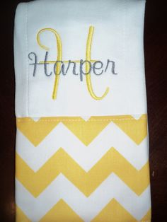 Chevron Personalized Monogrammed Baby Burp Cloth - Yellow and Gray - Perfect for a Girl Baby Shower. $9.99, via Etsy.