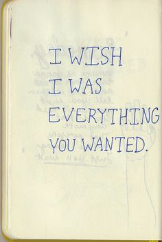I wish I was everything you wanted... but, I've wished that so many times in my life. Maybe, we've all felt that way...