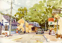 The Village, Shari Blaukopf Watercolor Architecture, Watercolor Landscape Paintings, Watercolor Artwork, Watercolor Sketchbook, Art Sketchbook, Guache, Urban Sketchers, Watercolor Techniques, Pictures To Paint