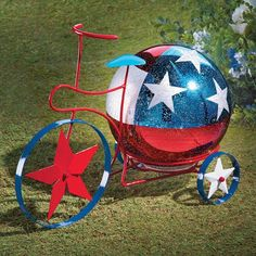 Add this festive bicycle to your summer decor for a fun display! Click on the link in our profile to shop today.⠀ ⠀ (Item #37756) Patriotic Party, Patriotic Decorations, Michael Art, Collections Etc, Solar Lights, Best Part Of Me, 4th Of July, Arts And Crafts, Display
