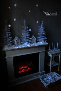 """Ein Kamin und die unterschiedlichsten Möglichkeiten in weihnachtlich zu dekorieren...Variante 2 """"Schneeweiß""""! Winter, Home Decor, Fireplaces, Weihnachten, Projects, Crafting, Winter Time, Room Decor, Home Interior Design"""