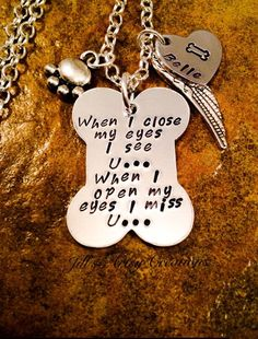 Pet Memorial Necklace In Memory of Pet by JillsArtsyCreations Awe! I love this one. Miss my fur babies Kip and Sadie!