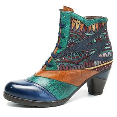 Socofy SOCOFY Bohemian Splicing Pattern Block Zipper Ankle Leather Boots is hot-sale. Come to NewChic to buy womens boots online Mobile. Over Boots, Women's Boots, Heeled Boots, Cowboy Boots, Moda Chic, Boots Online, Casual Boots, Dress Casual, Casual Outfits