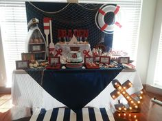 This My little Sailor Baby Shower is gorgeous!! What a stunning dessert table!! See more party ideas and share yours at CatchMyParty.com