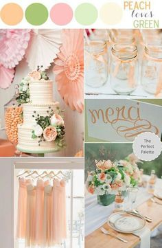 Peach, soft pinks, and shades of green