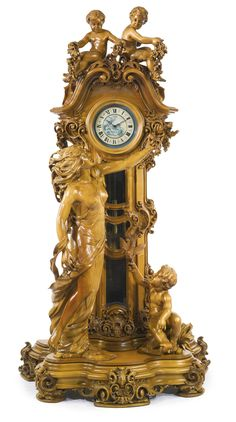 "A LARGE CARVED FRUITWOOD ""LIBERTY STYLE"" FIGURAL LONG CASE CLOCK  MODERN"