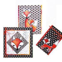 Shadowpaint set.  Set voor het maken van 6 vossenkaarten.  Inhoud van de set: 6 voorbeeld foto's in kleur, duidelijke werkbeschrijving, 2 vellen zwart druk papier, 3 kaartformaten, 4 vellen kraft designpapier A4 en 2 vellen shadow papier A4.  Prijs per complete set.