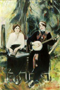 Old time music art print scene banjo and autoharp by oldtimeyart, $20.00