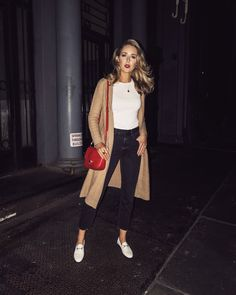 NYC fashion blogger Mary Orton of Memorandum wears a Co cable knit longline cardigan, a classic white t-shirt, black denim, white Gucci loafers and a red leather cross body bag