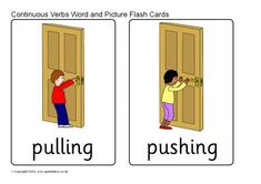 Continuous Verbs Word and Picture Cards - SparkleBox Alphabet Practice Sheets, Verb Words, Action Words, Teaching Time, Toddler Learning Activities, Word Pictures, Picture Cards, English Lessons, English Grammar