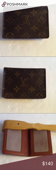 Authentic Louis Vuitton Monogram Credit Card Case. Leather and canvas showed light wearing. The dimension is 4.5, 3 and 1. The date code CA 0030. Louis Vuitton Accessories