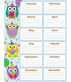 Let these whimsical owls help you to never forget a student's birthday with this…