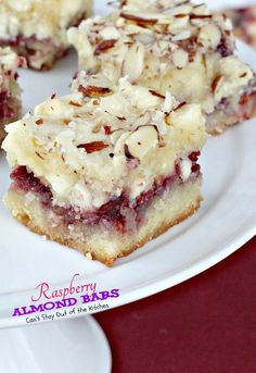 holiday baking Raspberry Almond Bars use raspberry filling, vanilla chips and almonds in the recipe. Great for holiday baking or anytime during the year! Just Desserts, Delicious Desserts, Dessert Recipes, Yummy Food, Bar Recipes, Bar Cookie Recipes, Family Recipes, Shrimp Recipes, Birthday Cakes