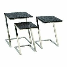 "Set of Three Contemporary Metal Wood Nesting Tables by Aspire. $214.05. Metal/Wood Material. Set of Three 24"", 22"", 20""H. Unique Decorative Appeal. Beautiful Contemporary Style. This set of nesting tables features contemporary designs with silver metal bases and black faux leather tops. Metal and Wood. Color/Finish: Black, silver. 24 in. H x 20 in. W x 16 in. D. 22 in. H x 18 in. W x 14 in. D. 20 in. H x 16 in. W x 12 in. D. Weight: 28 lbs.. Save 41% Off!"