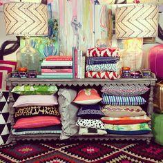 Furbish, mixed patterns, vintage kilim, batik lamp shades, abstract art, #daretomix