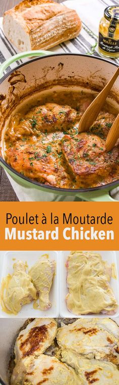 Poulet à la Moutarde (Mustard Chicken Recipe) Melt-in your mouth chicken braised in caramelized dijon mustard and chablis… Dutch Oven Recipes, Cooking Recipes, French Recipes, Food Porn, Mustard Chicken, Good Food, Yummy Food, French Food, French Dishes
