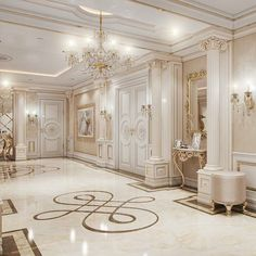 A foyer fit for a royal houseAmazing wall panelling and doors. Mansion Interior, Luxury Homes Interior, Luxury Home Decor, Home Interior Design, Dream Home Design, House Design, Luxury Homes Dream Houses, Classic House, Dream Rooms