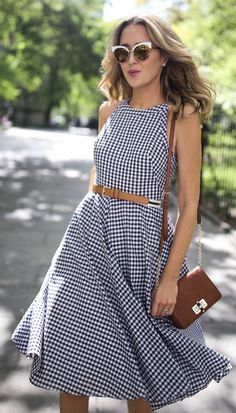 navy and white gingham fit and flare sleeveless midi dress with striped brown belt and cut out back // classic summer style // white cat eye sunglasses // brown suede leather block heel sandals Fit And Flare, Fit Flare Dress, Nyc Fashion, Look Fashion, Womens Fashion, Casual Dresses, Fashion Dresses, Summer Dresses, Gingham Dress