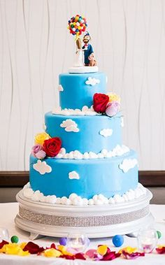 "A wedding cake full of adventure and love inspired by the movie ""Up"""