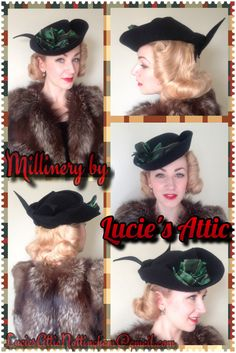 1940's inspired black felt tilt hat made by Lucie's Attic for the beautiful and amazing hairdresser that is Lucille of Lucille's Locks. Don't forget if you'd like to have something made them you can contact us at LuciesAtticNottingham@gmail.com