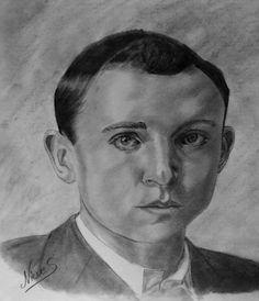 Retrato a lápiz y carbón del poeta Miguel Hernández . por Nieves Bosquet