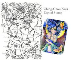 Butterfly Enchantress Digital Stamp Instant Download / by gjzcck