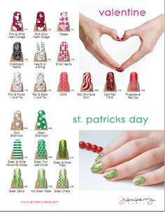 Jamberry's Valentine and St Patty Day nail designs are so cute!!  www.michellelee.jamberrynails.net