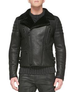 Belstaff Fraser Shearling Fur Biker Ceket - Siyah