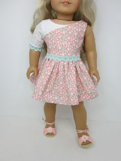 18 doll clothes  -Handmade pretty dainty flowered Monday morning dress in peach and Aqua by JazzyDollDuds.