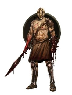 Male Human Sword and Shield Gladiator Fighter - Pathfinder PFRPG DND D&D 3.5 5th ed d20 fantasy