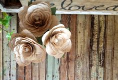 large paper flowers ivory shabby rustic wedding by PendropsCouture, $26.00