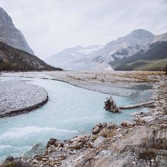 The milky blue headwaters of the Saskatchewan River.
