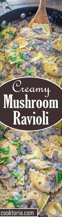 This Creamy Mushroom Ravioli makes a quick and hearty vegetarian dinner. Ready in less than 30 minutes! ❤️ http://COOKTORIA.COM