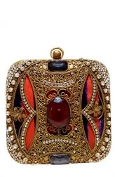 This square clutch has a golden frame, an orange and purple silk lining and is studded with small semi precious stones. The most striking feature is the oval deep red stone at its centre. The bejewelled bag is a great accessory to use when you want to dress-up an outfit.