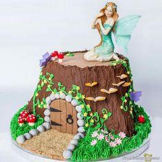 Ideas Garden Fairy Cake Ideas For 2019 Fairy House Cake, Fairy Garden Cake, Garden Party Cakes, Fairy Cakes, Fairy Birthday Cake, 5th Birthday, Birthday Cakes, Birthday Ideas, Lila Party