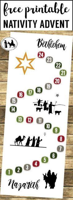 Free Advent Calendar Printable. This DIY Nativity Advent calendar is so easy! Mary and Joseph nativity silhouette advent calendar Christmas countdown.