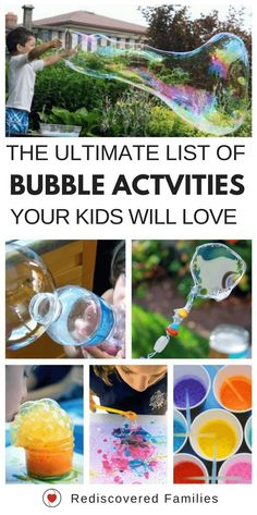 A collection of fun bubble activities for kids! Includes, art, science, sensory play, recipes and some great products. You and your kids are going to love these! Bubble Activities, Camping Activities For Kids, Summer Activities For Kids, Toddler Activities, Learning Activities, Preschool Activities, Bubble Games For Kids, Summer Science, Science Fun