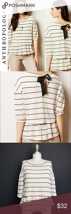 """Anthropologie Postmark 'Latitude' Knit Peplum Top Anthropologie Postmark Latitude Knit Peplum Top. Ivory with black Pinstripes. 21.5"""" long 17.5"""" across the bust. 92% Polyester 6% Rayon 2% Spandex. Boatneck. Keyhole opening in the back with grosgrain ribbon tie. Super soft. Excellent condition. Size S. Anthropologie Tops Blouses"""