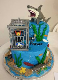 Shark And Diver Birthday Cake