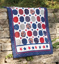 Make, and donate if you wish, this easy Quilt of Valor. Patriotic prints are plentiful and if, by chance, you cannot find them, simple red, white, and blue fabrics will do an equally honorable job. This quilt, America the Beautiful by Florence Moy, is fat quarter friendly.