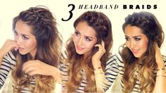 Hair tutorial: 3 easy headband braids for short, medium, or long hair! Quick, everyday hairstyles for school, work, or holiday parties! ★Check out Estelle's ...