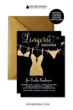 Black + gold glitter lingerie shower invitations with glitter string of lingerie (with bra + panties) and gold glitter look calligraphy script. Modern and glam, yet still totally chic for a lingerie or bachelorette party! Pair with a gold shimmer envelope and order shimmer paper printing for a top notch invitation package. At digibuddha.com