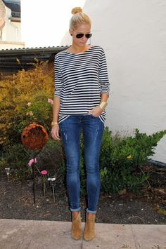 Striped shirt, skinny jeans, tan suede ankle boots