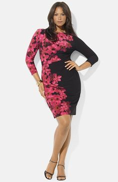 Finally somebody figures out how to do flowers!  Lauren Ralph Lauren Jersey Dress (Plus Size) | Nordstrom