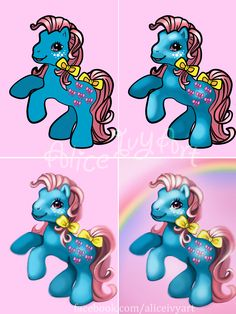 Step 1: Colored lineart (This is vector lineart which is not necessary)   Step 2: Coloring under the lines, keeping light source in mind.   Step 3: Coloring on top of the lines, covering the lines for a 'realistic' look.  Step 4: Background, in this case, just a simple rainbow.  #mlp #mylittlepony #cutiemark #kawaii #cute #mlpfim #pink #blue #art #photoshop #tutorial #art